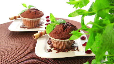 Chocolate Muffins - Dolly Shot stock footage