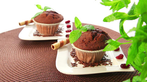 Chocolate muffins - dolly shot Stock Video Footage