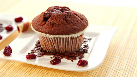 Fresh baked delicious muffins with chocolate Stock Video Footage