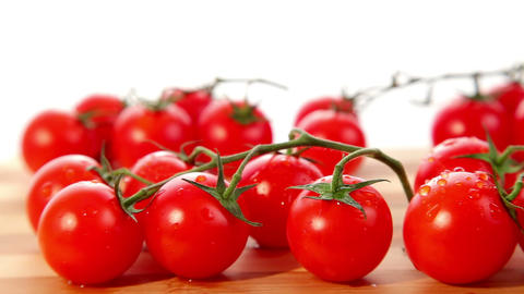 Fresh ripe small cherry tomatoes - dolly shot Stock Video Footage