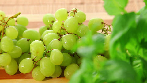 Bunch Of Tasty Sweet Green Grapes - Dolly Shot stock footage
