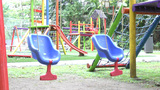 Empty Swing Set. Missing Child Concept stock footage