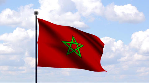 Animated Flag of Morocco / Marokko Stock Video Footage