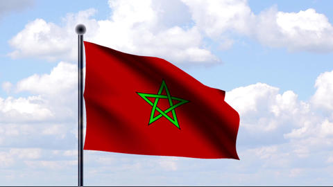 Animated Flag of Morocco / Marokko Stock Video Footage