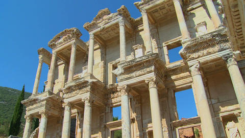 Low angle view of an ancient facade at Ephesus, Tu Stock Video Footage