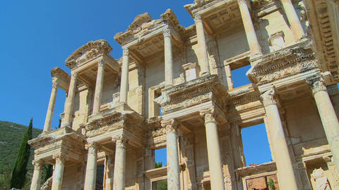 Low angle view of an ancient facade at Ephesus, Tu Footage