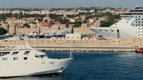 Cruise ships in the ancient harbor of Rhodes in th Stock Video Footage