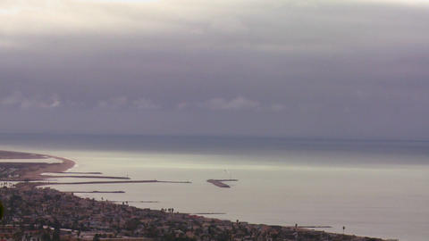A storm front moves over the coast in this time la Stock Video Footage
