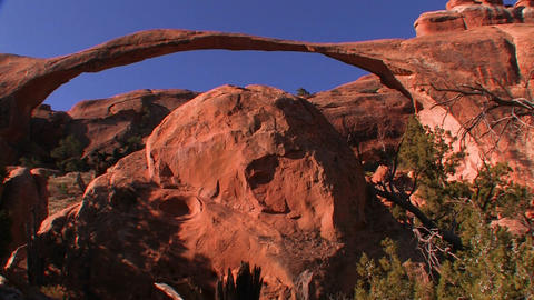 The beautiful delicate arch spans across Utah's Ar Footage