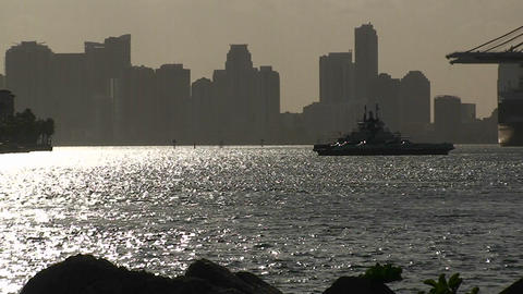 A ferry boat crosses Miami harbor Stock Video Footage