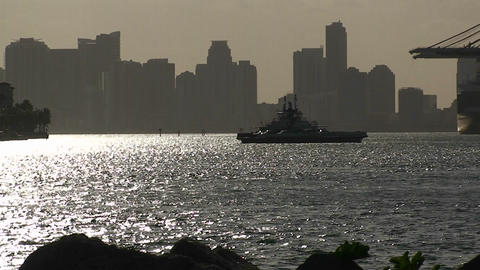 A ferry boat crosses Miami harbor Footage