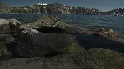 Low angle view from the waterline at Crater Lake,  Footage