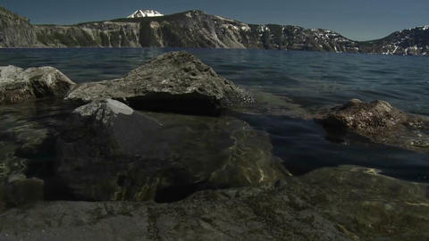 Low angle view from the waterline at Crater Lake, Stock Video Footage
