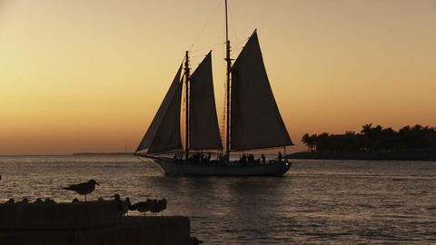 A beautiful sailing ship at sunset Footage