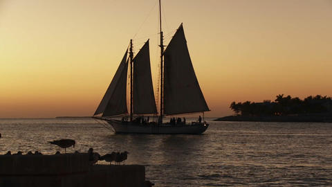 A beautiful sailing ship at sunset Stock Video Footage