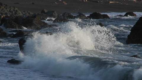 Rough weather and waves along the Oregon coast Footage
