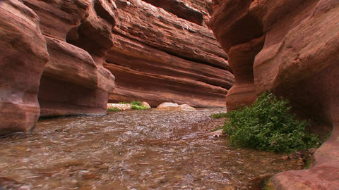 A view along a slot canyon in the Grand Canyon in Stock Video Footage