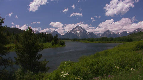 Clouds move over the mountains at Grand Tetons Stock Video Footage