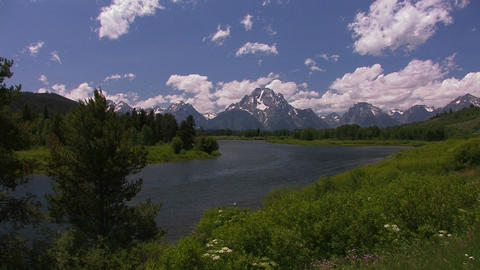 Clouds move over the mountains at Grand Tetons Footage
