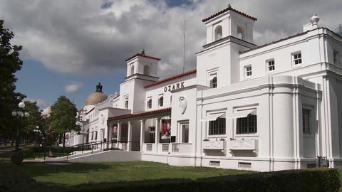 A historic bathhouse at Hot Springs National Park, Stock Video Footage