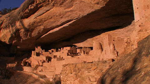 A distant shot of American Indian dwellings at Mes Stock Video Footage