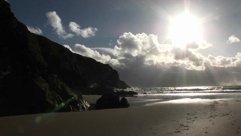 Fast time lapse of the sunset and tide retreating Stock Video Footage