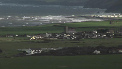 A small village in Ireland with the coast backgrou Stock Video Footage