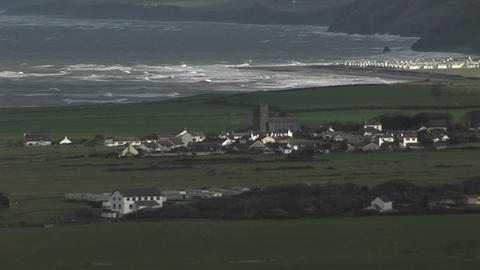 A small village in Ireland with the coast backgrou Footage