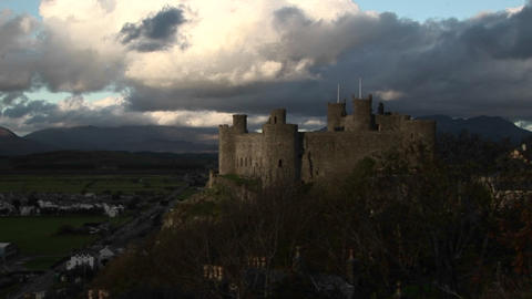 A fort in ireland towers above the countryside Stock Video Footage