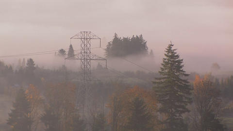High tension power lines in the fog Footage
