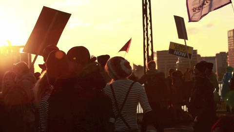 Protesters march in a parade Stock Video Footage