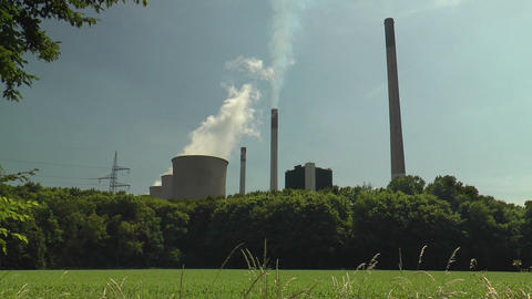 power plant in green scenery Footage