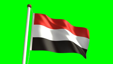 Yemen flag Stock Video Footage