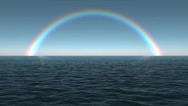 Ocean Dawn Rainbow Scene Seamlessly Looping Stock Video Footage