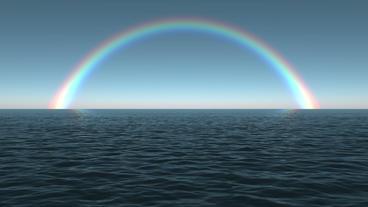 Ocean Dawn Rainbow Scene Seamlessly Looping Stock Video Footage