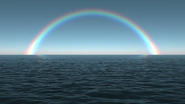 Ocean Dawn Rainbow Scene Seamlessly Looping Animation