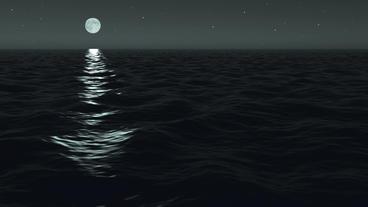 Ocean Night Moonrise Scene Seamlessly Looping Stock Video Footage