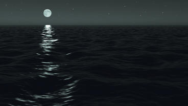 Ocean Night Moonrise Scene Seamlessly Looping Animation