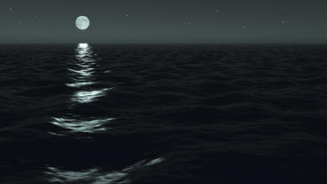 Ocean Night Moonrise Scene Seamlessly Looping Stock Video Footage