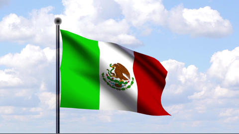 Animated Flag of Mexico / Mexiko Stock Video Footage
