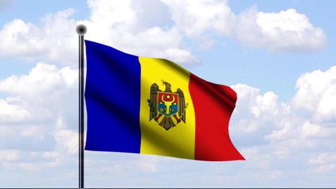 Animated Flag of Moldova / Moldawien Stock Video Footage