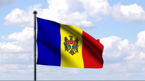 Animated Flag of Moldova / Moldawien Stock Video Footage