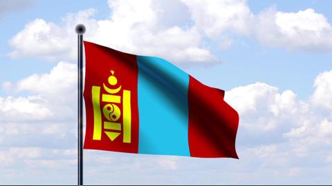 Animated Flag of Mongolia / Mongolei Stock Video Footage