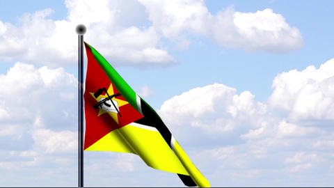 Animated Flag of Mozambique / Mosambik Stock Video Footage