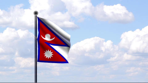 Animated Flag of Nepal Stock Video Footage