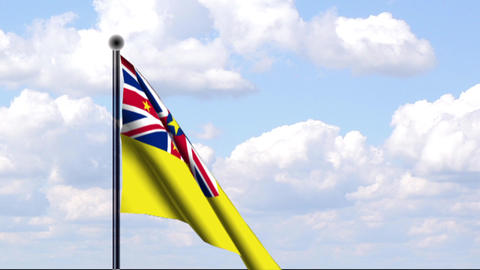 Animated Flag of Niue / Animierte Flagge von Niue Stock Video Footage