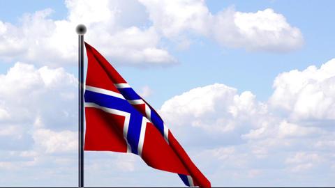 Animated Flag of Norway / Norwegen Stock Video Footage