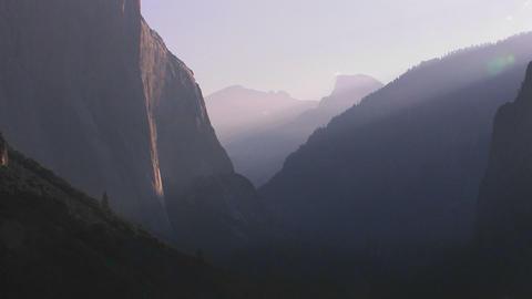 Dew covers the El Capitan rock formation in Yosemi Stock Video Footage