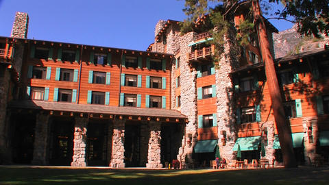 Ahwahnee Lodge in Yosemite National Park in Califo Stock Video Footage