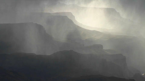 Fog covers layers of mountains in Grand Canyon Nat Footage